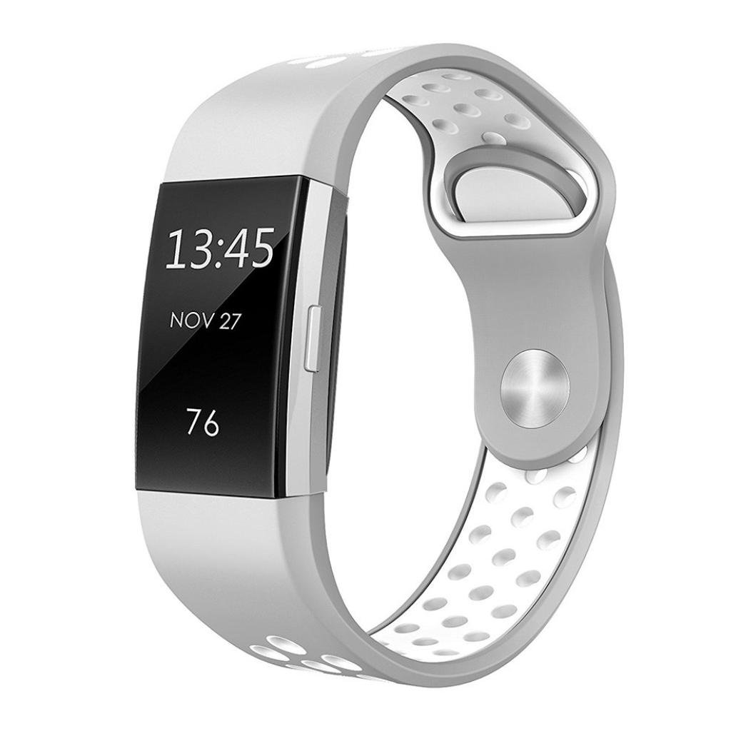 Alonea Fitbit Charge 2 Watch Band, Fashion Double Color Sports Silicone Bracelet Strap Band For Fitbit Charge 2 (Small Silver ❤️)