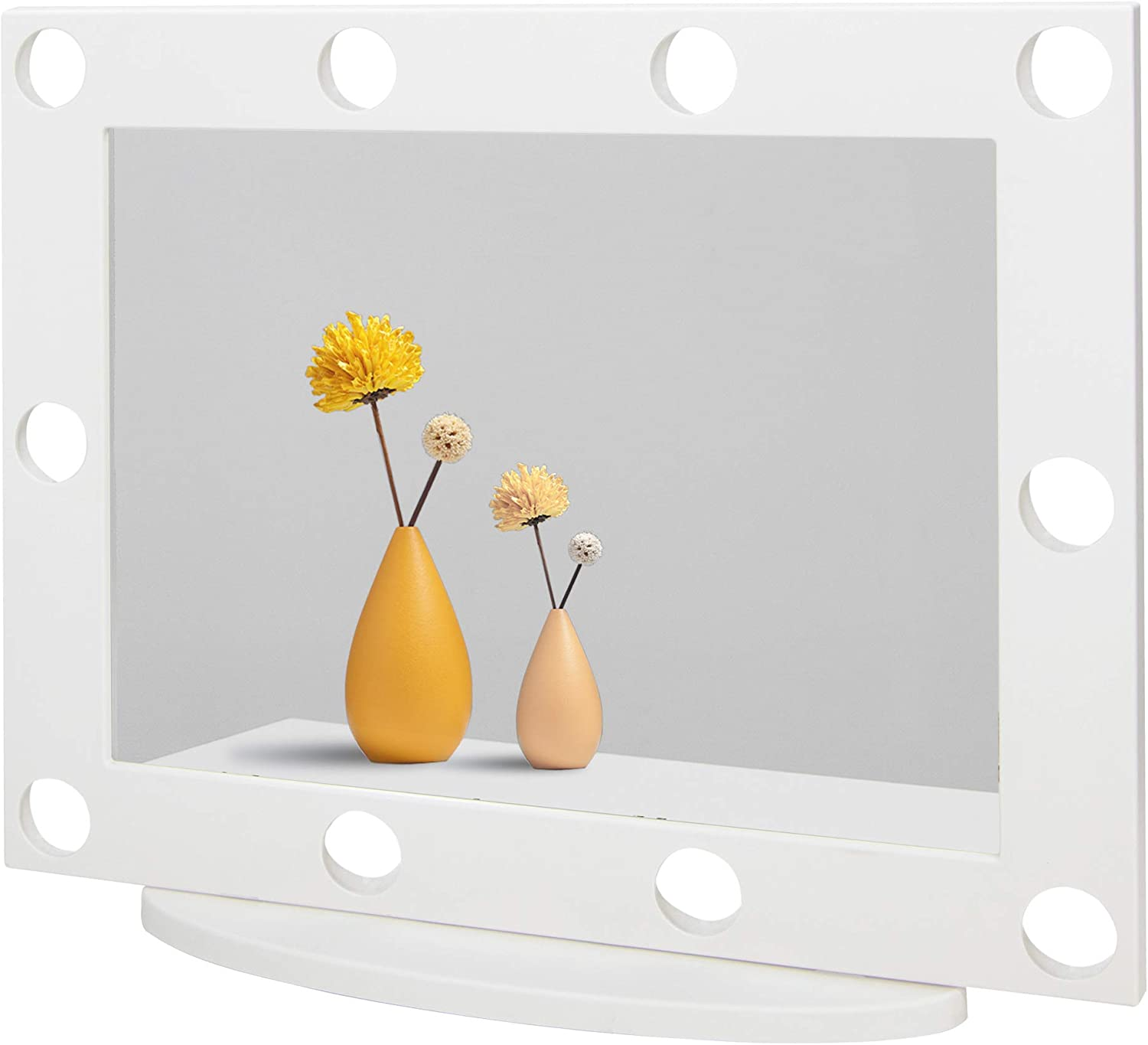 Waneway Vanity Mirror with 10 Pre-Drilled Holes Compatible with Hollywood Lights Kit, DIY Lighted Vanity Makeup Mirror with No Visible Cords, Tabletop or Wall Mount, White (Lights Kit Not Included)