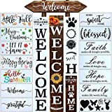 24 PCS Welcome Stencil for Painting on Wood,Home Sign Stencils Reusable Porch Sign and Front Door Vertical Welcome Comes with Stencil-Sunflower,Dog Paw Stencil and orther Pattern (Style 4) (Color: style 4)