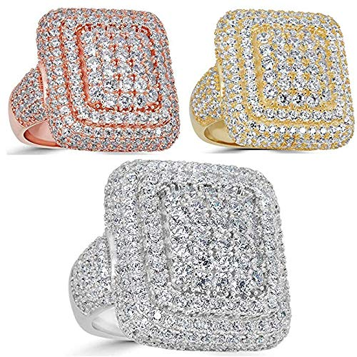 Harlembling Solid 925 Sterling Silver Men's Ring Iced Out - Pinky Square Ring - Yellow, Rose, Or Natural Silver - ICY Hip Hop Ring (Yellow-Gold-Plated-Silver, 10)