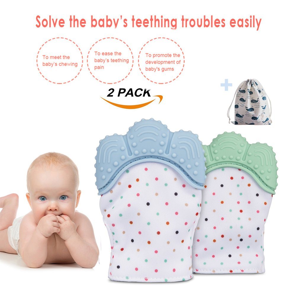 Baby Teething Mittens - Toddler Teething Glove Newborn Nursing Teeth Baby Shower Gift Kids Candy Wrapper Sound Teether 3-12 Months (Twins In Pack)