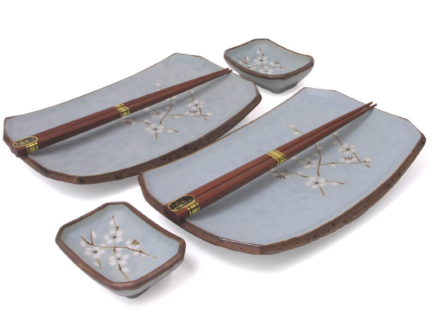 Happy Sales Happy Sales 6 pc Japanese Sushi Plate Dinnerware set Cherry Blossom Blue,, Light Blue