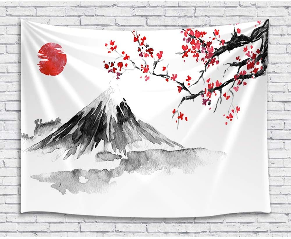 Japan Mount Fuji Decor Tapestry, Cherry Blossoms Sakura Sunset Ink Painting Art Wall Hanging for Bedroom Living Room College Dorm TV Backdrop Wall Blankets 60X40 Inches
