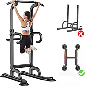 GREARDEN Power Tower Exercise Equipment Adjustable, Multi-Function Pull up Bar Station, Dip Station Pull up Bar for Home Gym 12 Adjustable Height, 330 LBS