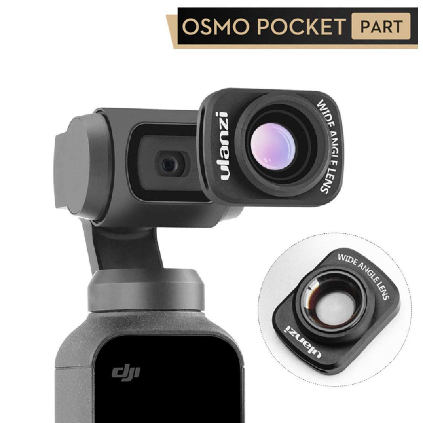 Wide Angle Lens for DJI Osmo Pocket - ULANZI OP-5 Professional 0.65 X Wide-Angle HD Magnetic Structure Design Camera Lenses, Osmo Pocket Gimbal Accessories