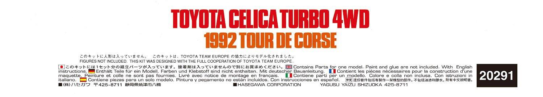 Hasegawa HA20291 1: 24 Toyota Celica Turbo 4WD 1992 Tour de Corse Toy: Amazon.es: Juguetes y juegos