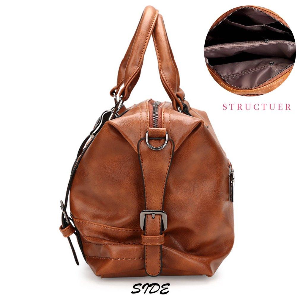 Juilletru Black Women Tote Bags PU Leather Handbags Top Handle Vintage Purse Crossbody Shoulder Bag by Juilletru (Image #4)