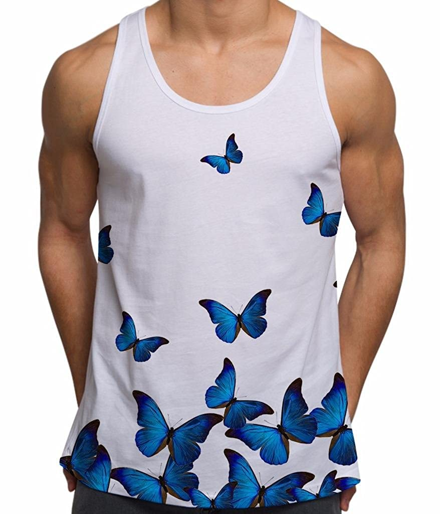 Mens Graphic Tank Top Blue Butterfly Sleeveless Tee Shirt Red