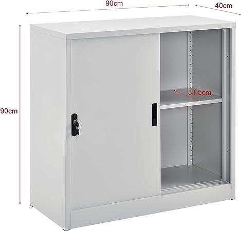 en.casa] Armario de Oficina 90 x 40 x 90 cm Archivador con Cerradura y 2 Puertas 2 Niveles para Almacenar Organizador Gris Claro: Amazon.es: Hogar