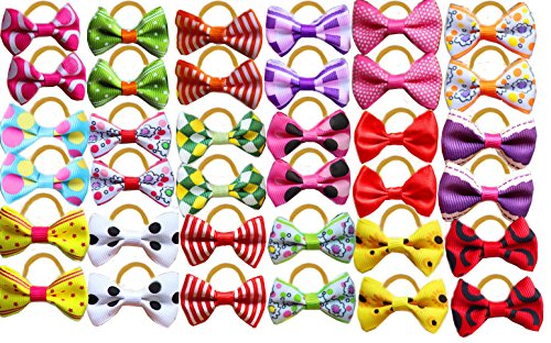 Yagopet 60pcs/30pairs Cute New Dog Hair Bows Rubber Bands Top Quality Dog Topknot Mix Styles Dog Bows Pet Grooming Products Mix Colors Pet Hair Bows Topknot by yagopet