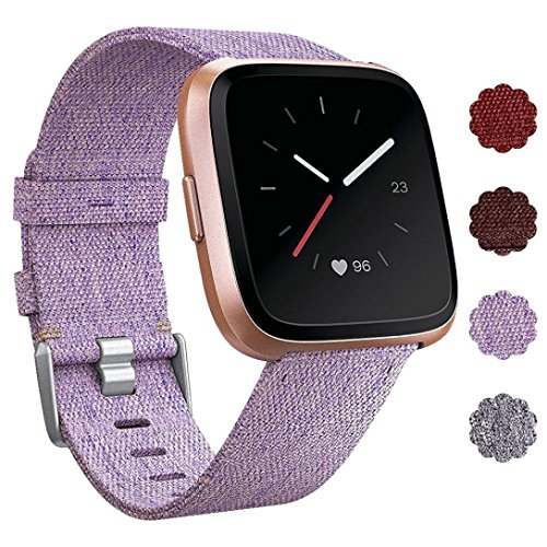 Alonea Fitbit Versa Band, Woven Fabric Wrist Strap Quick Release Watch Band for Fitbit Versa (Purple ❤️)