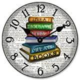 Library Wall Clock, Available in 8 Sizes, Most Sizes Ship The Next Business Day, Whisper Quiet.