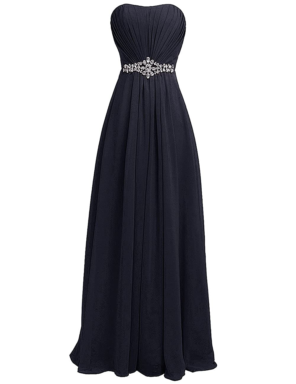Navy bluee H.S.D Women's Strapless Rhinestone Sash Long Bridesmaid Dress Evening Gown