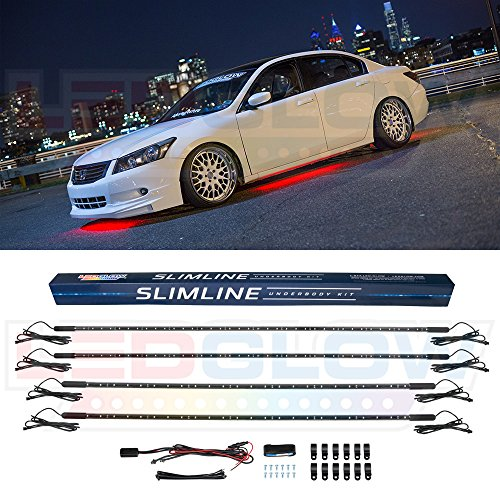 LEDGlow 4pc Red Slimline LED Underbody Underglow Accent Neon Lighting Kit for Cars - Solid Color Illumination - Water Resistant, Low Profile Tubes - Included Power Switch Turns Lights On ()