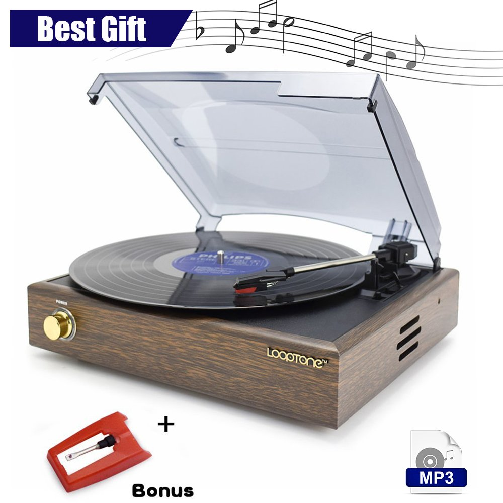 LoopTone 3 Speed Wooden Retro Record Player with Built in Speakers, Vinyl To MP3 Recording , Rca Audio Line out , Brown