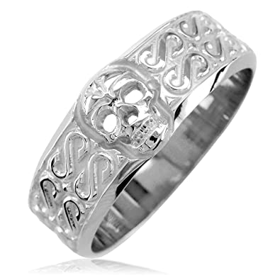 0bd2a0dd437fc Mens Wide Skull Wedding Ring with S Pattern in Sterling Silver