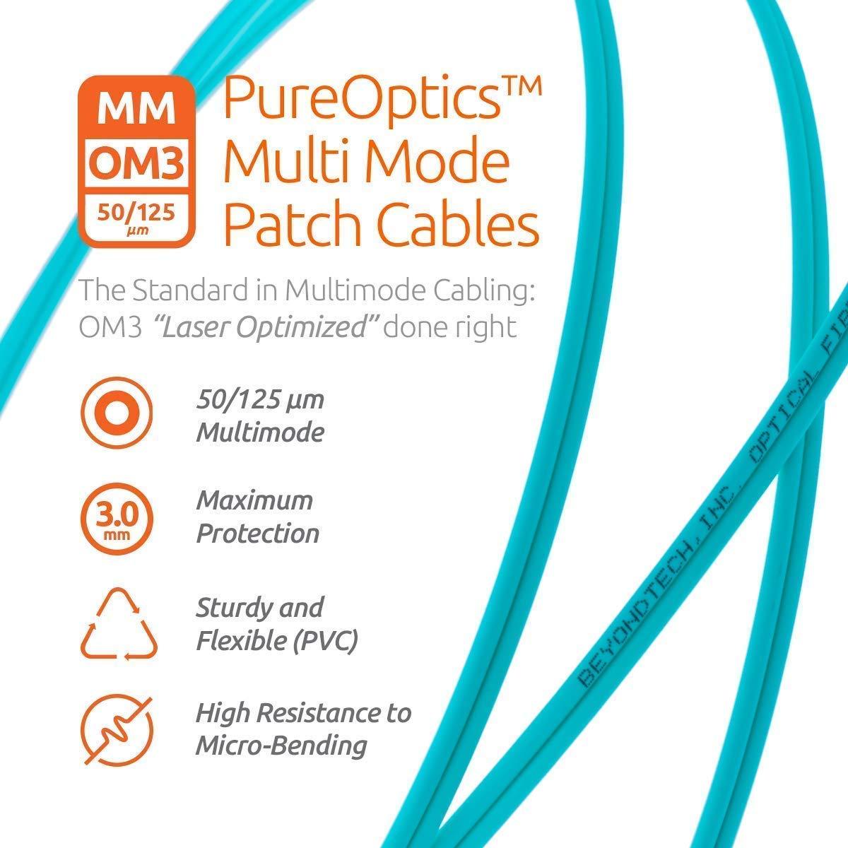 50//125 10G Duplex LC to LC OM3 Fibre Patch Cable Multimode LSZH 20M - Beyondtech PureOptics Lead Series 1 Pack