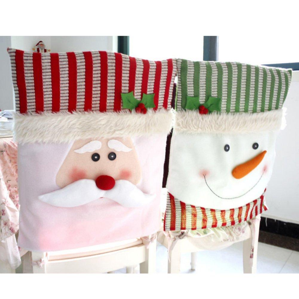 Kiao 1Pcs Coperture/Coprisedie della sedia forma di Pupazzo di neve/Babbo Natale/Alce Per Dinner Table partito Set Decorazione Natalizia Festa