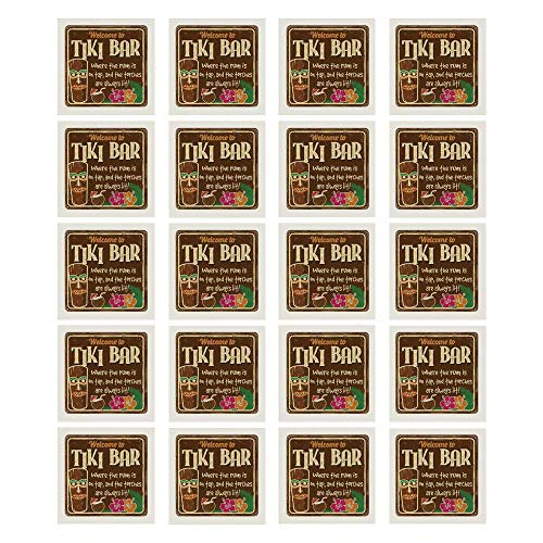 Tiki Bar Decor 3D Ceramic Tile Stickers 20 Pieces,Aged Old Frame Sign of Tiki Bar with Inspirational Quote Leisure Travel for Living Room Kitchen,7.8