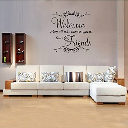 Amazon dsgghty wall stickers quote welcome my friends greeting dsgghty wall stickers quote welcome my friends greeting words for door wall stickers quote home decor m4hsunfo
