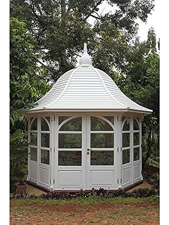 Jardín Casa Princess Gazebo caoba madera hogar Caseta bloque casa color blanco: Amazon.es: Jardín