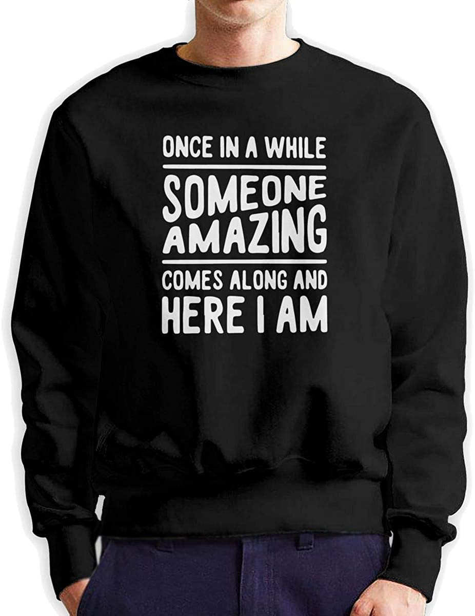 Here I Am Mens Cotton Cozy Double Sides Print Long Sleeve Crewneck Sweatshirt