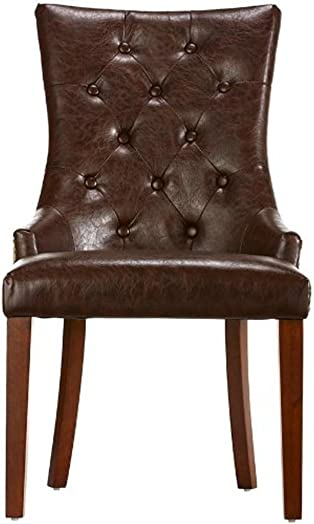 Home Decorators Collection Rebecca Tufted Accent Chair, 38 HX22 WX27 D, BRWN LTH W BRLP