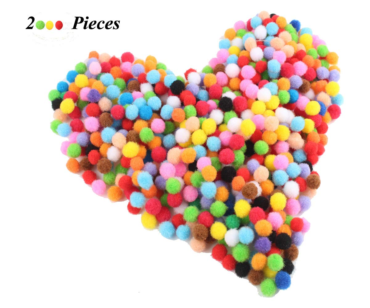 Devis 2000 Piece Pom Poms for Craft Making, Hobby Supplies and DIY Creative Decorations, Assorted Colors zy-2000 pcs DIY Pompoms