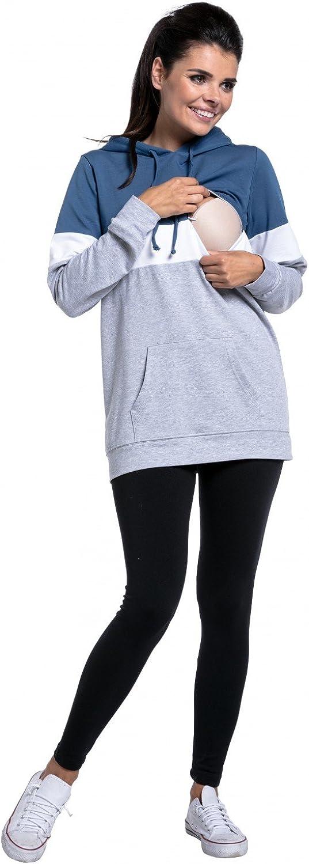 Zeta Ville - Still-Sweatshirt Farbblock Kapuze Top Kängurutaschen - Damen - 503c Blaue Jeans & Weiß & Lichtgrau Melange