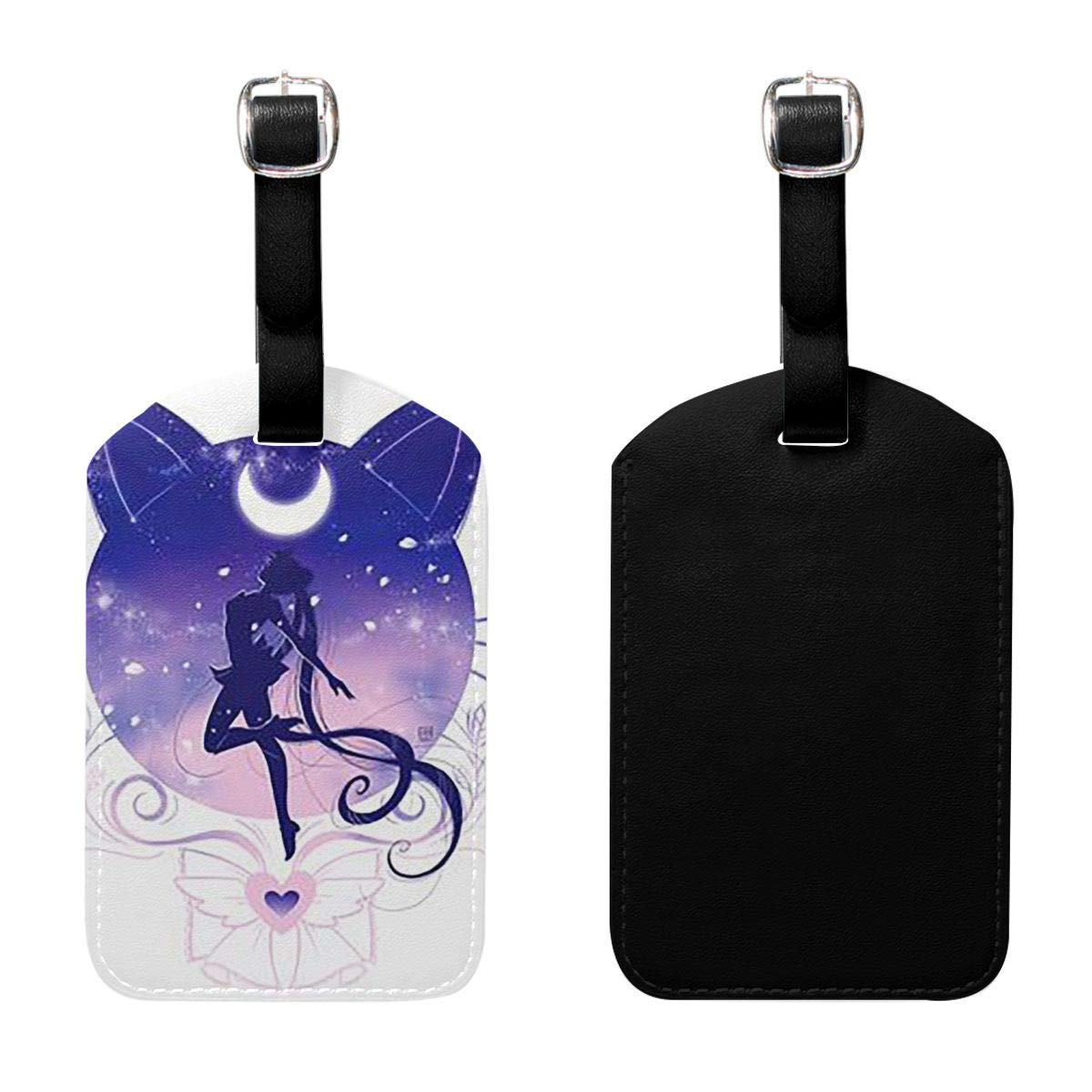 PU Leather Luggage Tags Sailor Moon in Cat Background Suitcase Labels Bag Adjustable Leather Strap Travel Accessories Set of 2