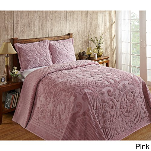 Better Trends Ashton 100-percent Cotton Chenille Super Soft and Plush Bedspread Pink