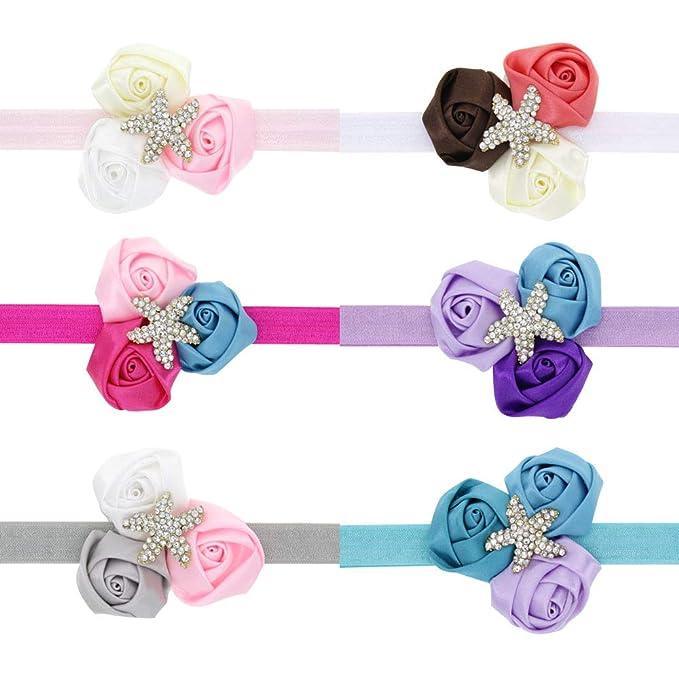 Infant Kids Baby Girls Rhinestone Headband Ribbon Rose Flower Hair Band Headwear