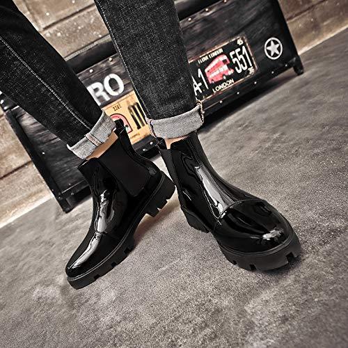 ZyuQ Herren Stiefel Martin Stiefel Stiefel Stiefel Leder Stiefel Winter Lackleder Glänzende Stiefel Herren Stiefel Herbst Haar Stylist Herren Hohe Schuhe 0823b9