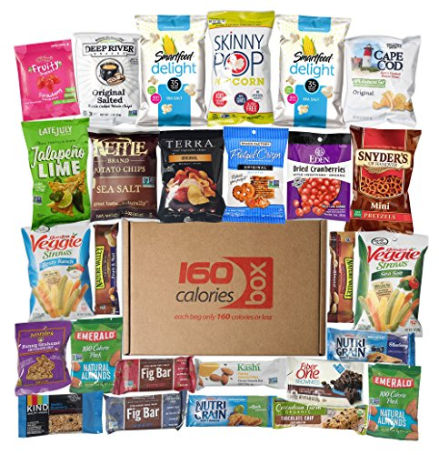 Healthy Snacks Care Package Under 160 Calories | Sweet & Nutritious Bars, Nuts, Potato Chips, Veggie Straws & Others | For School, Adults, Work, Parties & Diet (27 ()