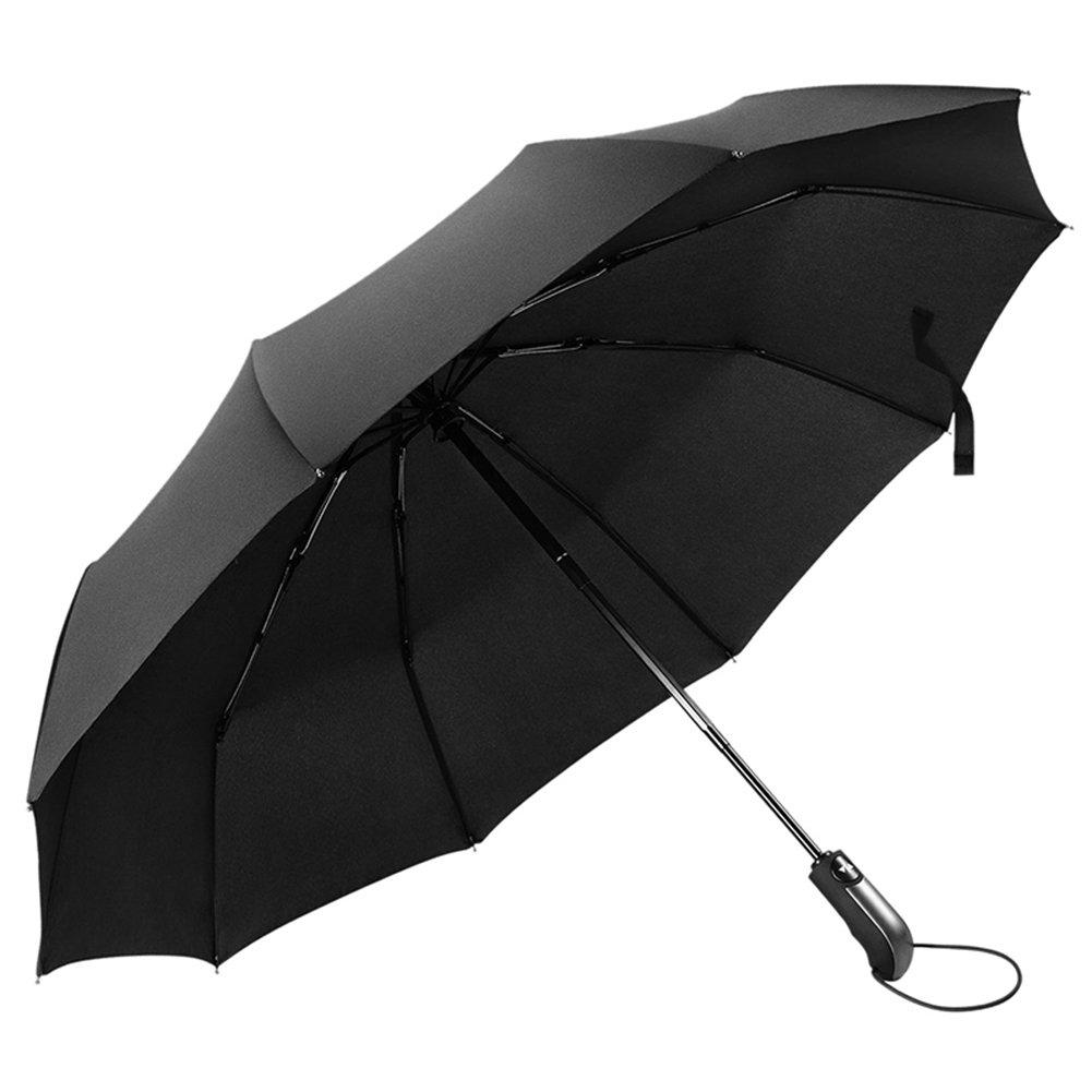Ombrello Pieghevole da Viaggio con Apertura e Chiusura Automatica, MloveBiTi 10 Stecche Rinforzate, Ombrello Antivento Nero, Robusto con Aste in Fibra