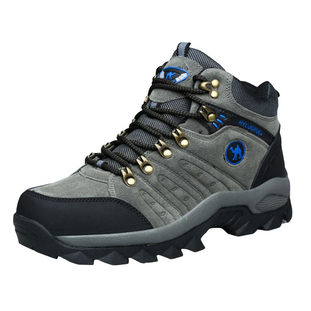 3C Camel HUAYU 5696 Mens Walking Hiking Trail Waterproof Ventilated Mid High-cut Gray Boots (9.5, Gray)