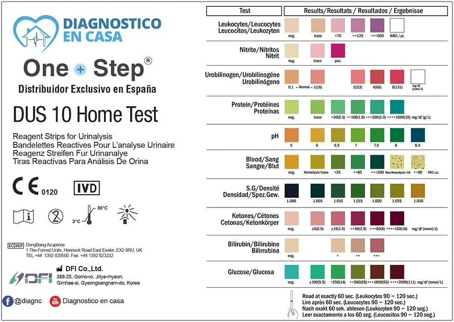 4 x Tiras Reactivas Examen Análisis Orina 10 Parámetros: Leucocitos, Nitritos, Urobilinógenos, Proteínas, pH, Sangre, Densidad, Cetonas, Bilirrubina y ...
