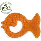 Pure Natural Rubber Baby Teether, Without Holes, One-Piece Hygienic Design Teether for Babies BPA Free, Covers All Teething S