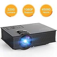 APEMAN Actualizado Proyector Portátil 2200 Lúmenes Mini Proyector de Vídeo HD LED Vida Hasta 45000 Horas Soporte Entrada 1080p HDMI USB VGA AV SD (Negro)