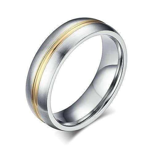 Daesar Joyería Anillo Acero Plata and Oro Tone Mate Boda Ring Promise Comfort Fit Ring Size