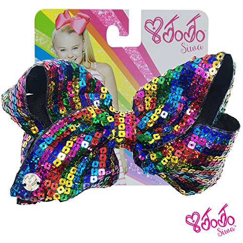 JoJo Siwa Signature Collection Hair Bow with Square Sparkle Sequins - Rainbow - Sticker Patch Set Included