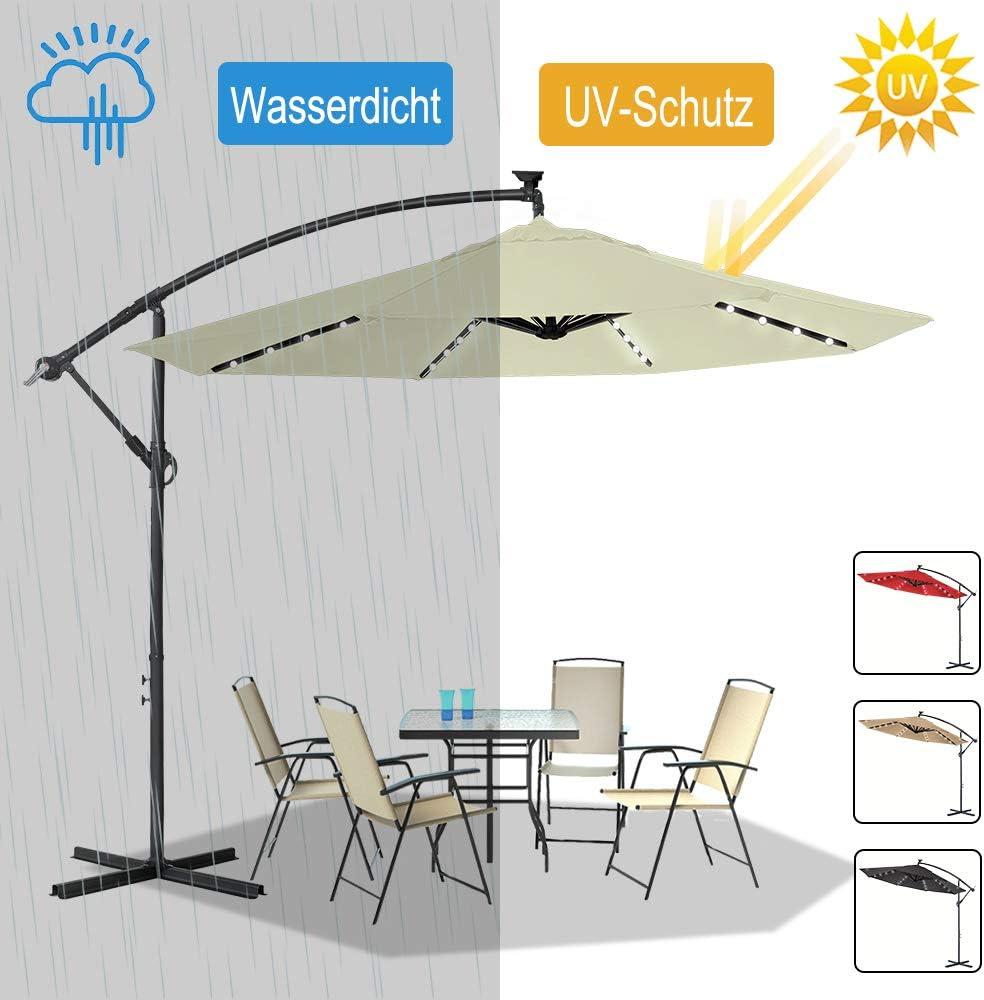 LZQ Garden Parasol Aluminium Cantilever /Ø300cm Umbrella Sun Shade Patio Umbrella Canopy Crank Umbrella With LED Lights Solar Crank UV40 Patio Green for Garden Balcony