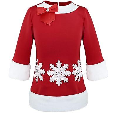 inhzoy Disfraz de Papá Noel para Niña Vestido Rojo Navidad ...