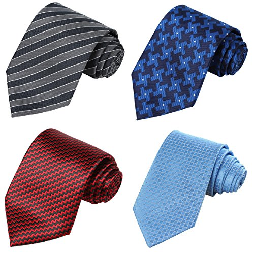 KissTies 4PCS Ties Gray Blue Red 63'' XL Extra long Necktie + 1 Magnetic Box ()