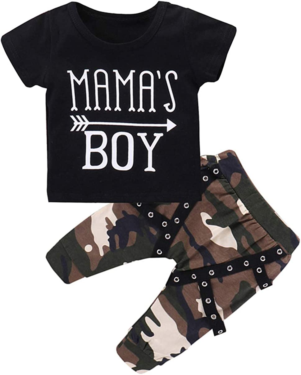 VISGOGO Casual Toddler Kids Baby Boys Tops T-Shirt Camo Pants Outfits Set Clothes 0-3Y
