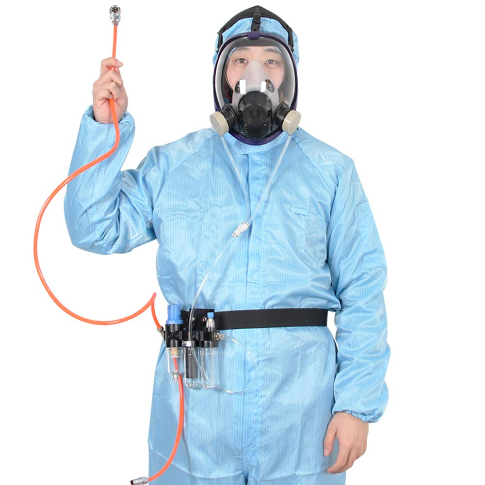 Three-In-One Function Supplied Air Fed Respirator System & Full Face Gas Mask, FDA Tested, Breathe Easily, Don't Need Cartridge, Mask Included