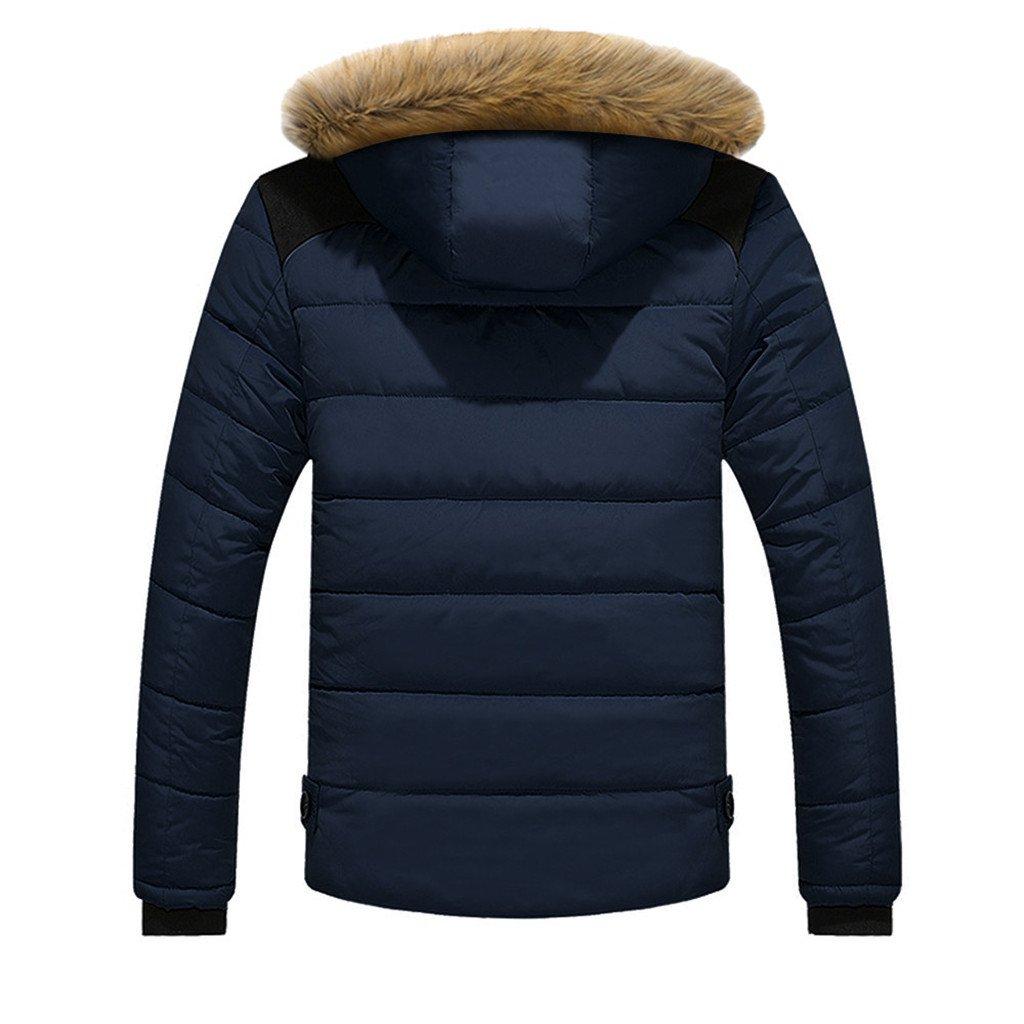 Vovotrade® Herren Winterjacke Jacke Pieder Herren Parka Lange Winterjacke Herren Übergangsjacke Jacke Plus Pelz mit Faux Kapuze Mantel Jacke