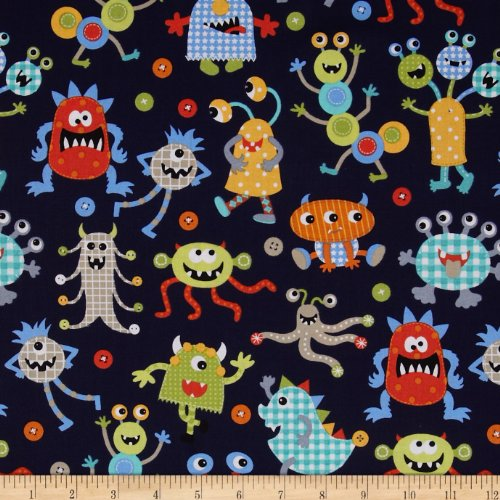 Michael Miller It's A Boy Thing Monster Mash Navy Fabric By The Yard