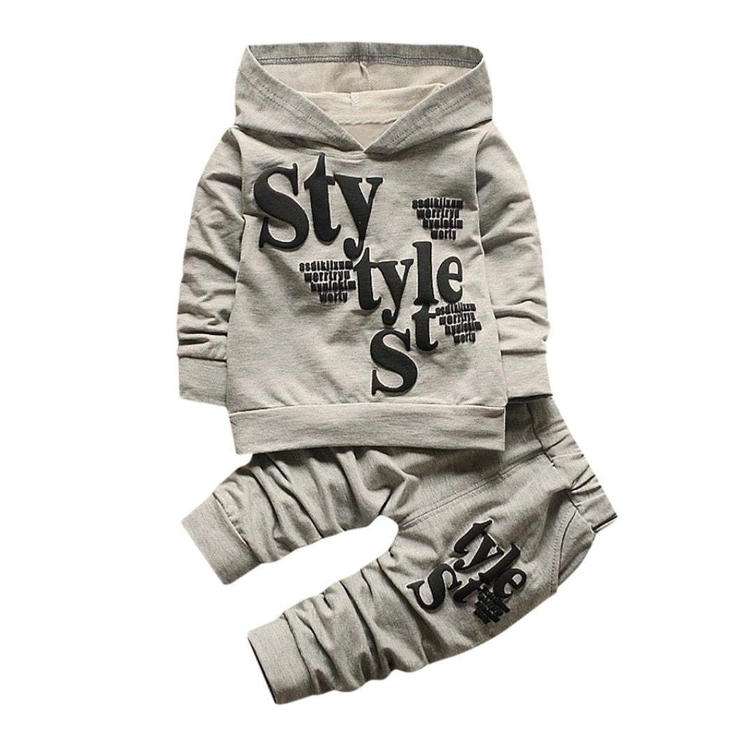 Toddler Baby Boy Hooded Tops Casual Long Sleeve Shirt Letter Style Pattern Pants Sports Clothes 2Pcs Set (Gray, 2T) by Aritone - Baby Romper