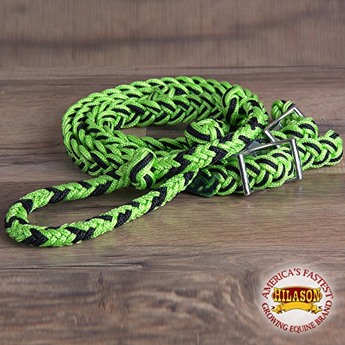 Lime Black Braided Poly Barrel Racing Contest Reins Flat W/easy Grip Knots 1 Inch X 8ft